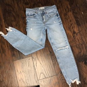 Zara the Slim Boyfriend Distressed Jeans